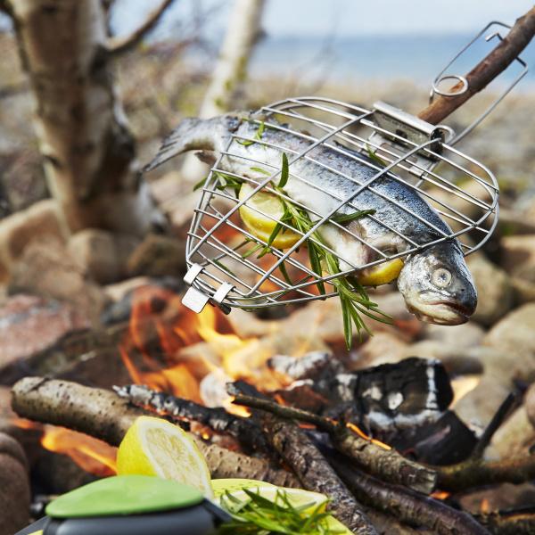 Grillet fisk på bål
